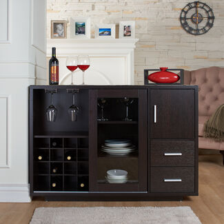 Arron 2-Drawer Wooden Modern Wine Bar Dining Server with Built-In 16-Bottle Wine Rack and Sliding Doors